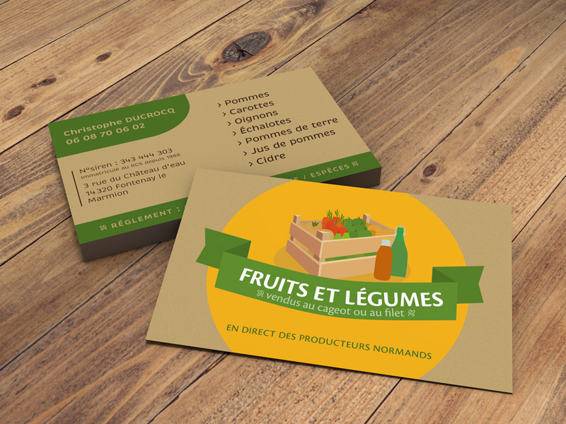 Mise en situation cartes de visite marchand de fruits et légumes