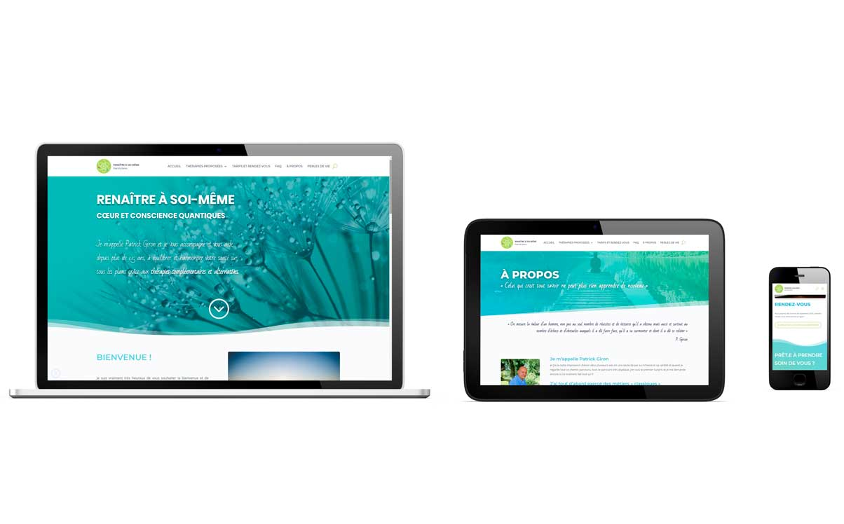 Site web thérapeute coach responsive